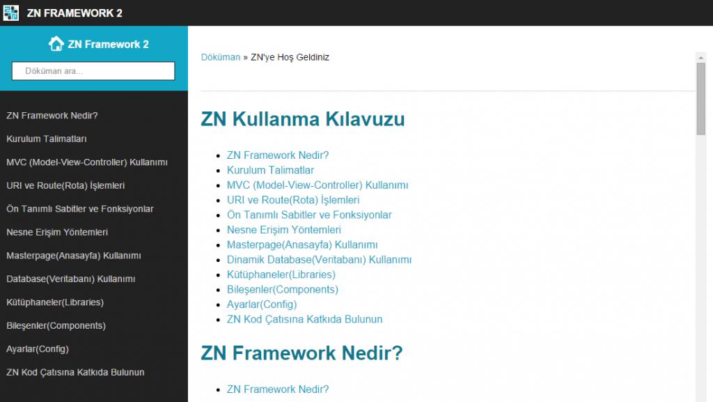 ZN Framework kolay anlaşılabilir, detaylı bir kılavuza sahip